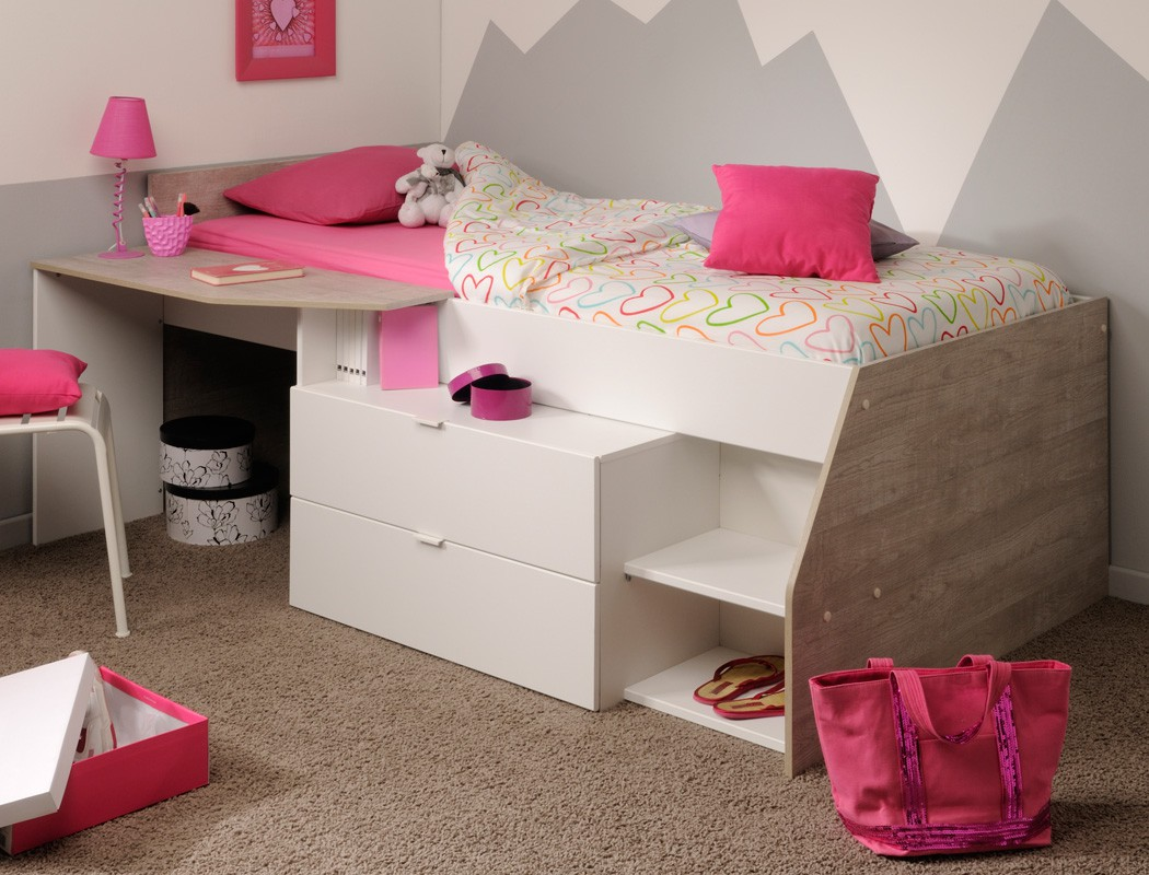 hochbett mika b 90x200 wei grau kinderbett jugendzimmer kinderzimmer kaufen bei vbbv gmbh. Black Bedroom Furniture Sets. Home Design Ideas