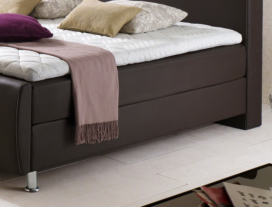 boxspringbett amato braun naht beige variante box bonnell komfortbett kaufen bei vbbv gmbh. Black Bedroom Furniture Sets. Home Design Ideas