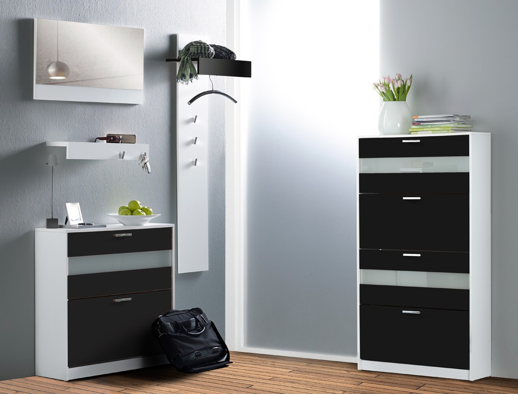 garderoben set nando 5 teilig schwarz hochglanz paneel spiegel schrank kaufen bei vbbv gmbh. Black Bedroom Furniture Sets. Home Design Ideas