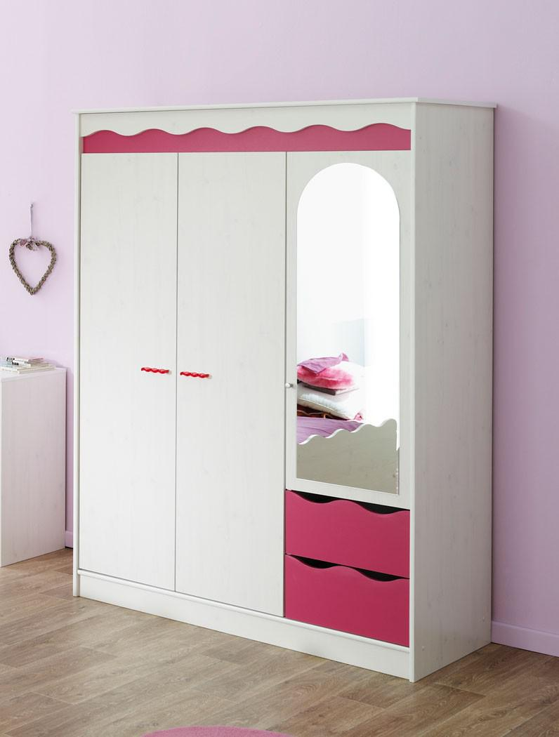 kleiderschrank lilan 4 wei pink kinderzimmerschrank m dchen schrank kaufen bei vbbv gmbh co kg. Black Bedroom Furniture Sets. Home Design Ideas
