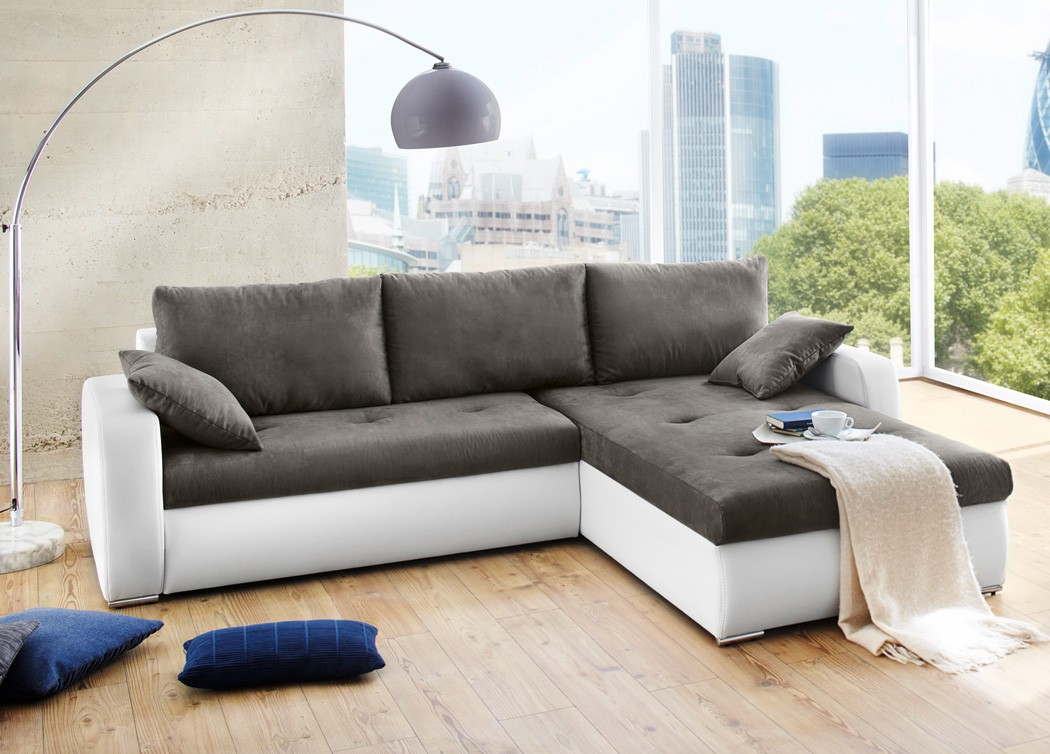 polsterecke ronia 258x202cm dunkelgrau weiss bettfunktion sofa couch kaufen bei vbbv gmbh co kg. Black Bedroom Furniture Sets. Home Design Ideas