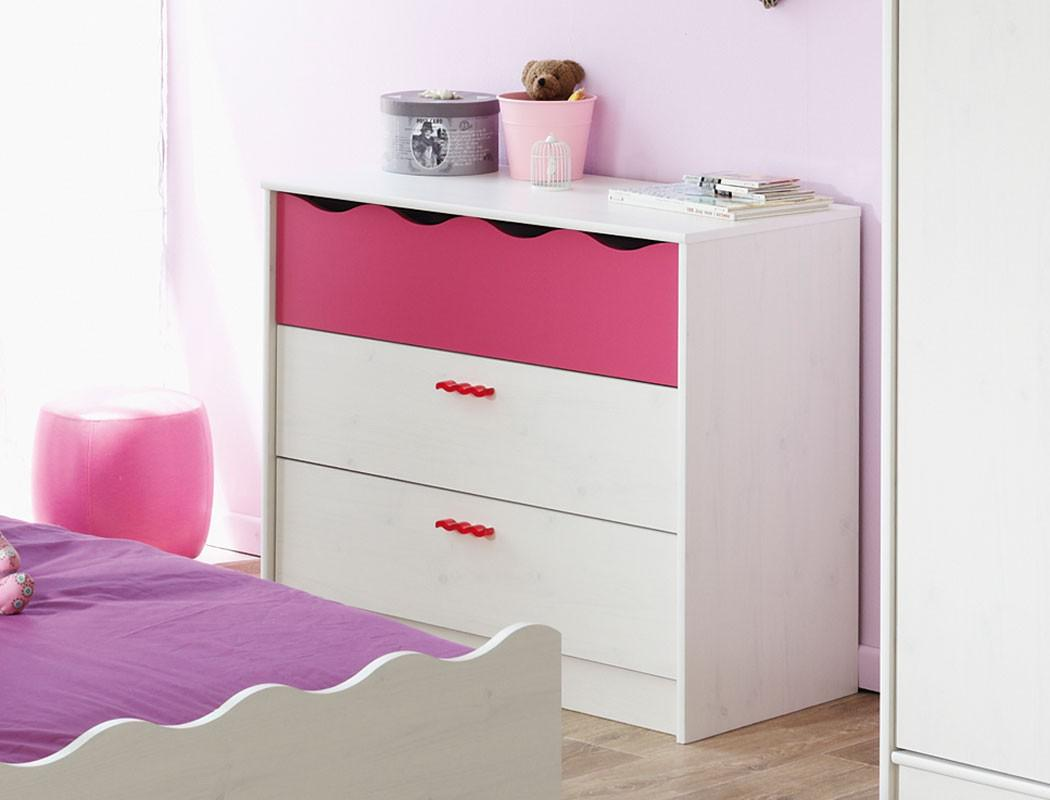 kinderzimmer lilan 2 wei pink kinderbett nachttisch. Black Bedroom Furniture Sets. Home Design Ideas