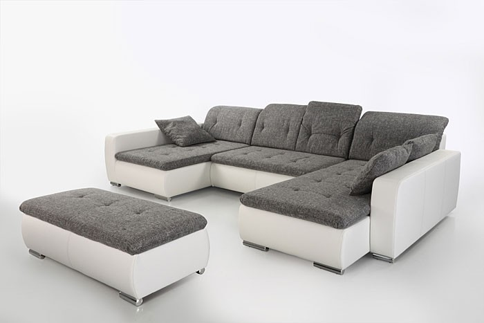 sofa couch ferun 365x200 185cm mit hocker hellgrau wei polsterecke kaufen bei vbbv gmbh. Black Bedroom Furniture Sets. Home Design Ideas