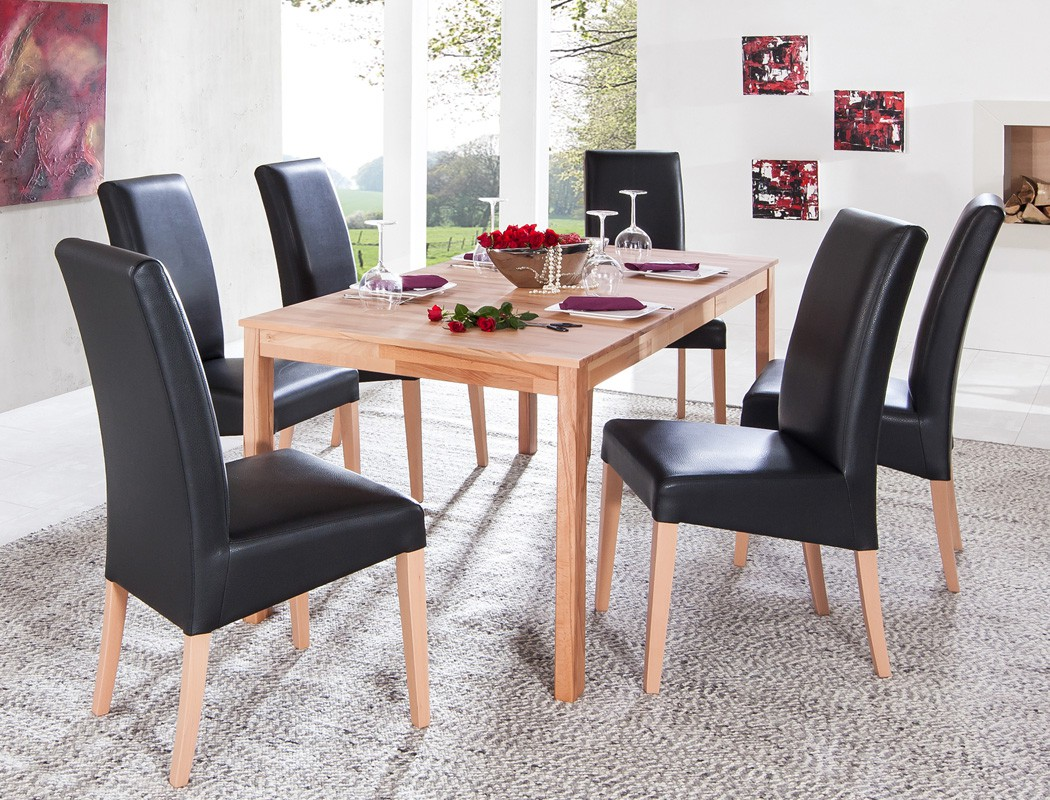 essgruppe kernbuche tisch emilian 125 165 x80 6 st hle robin schwarz kaufen bei vbbv gmbh. Black Bedroom Furniture Sets. Home Design Ideas