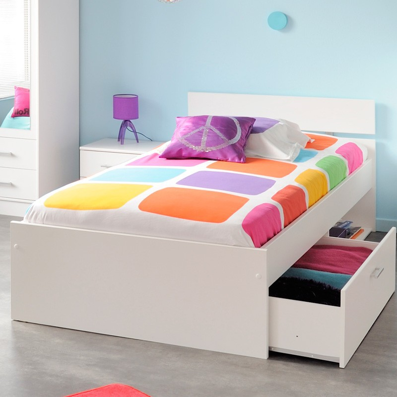 kinderbett 90x200cm wei jugendbett mit bettkasten. Black Bedroom Furniture Sets. Home Design Ideas