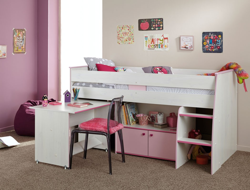 hochbett zola 90x200 wei pink rosa kinderbett etagenbett kinderzimmer kaufen bei vbbv gmbh. Black Bedroom Furniture Sets. Home Design Ideas