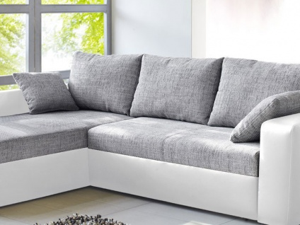 ecksofa vida 244x174cm grau weiss schlafsofa sofa couch polsterecke kaufen bei vbbv gmbh co kg. Black Bedroom Furniture Sets. Home Design Ideas