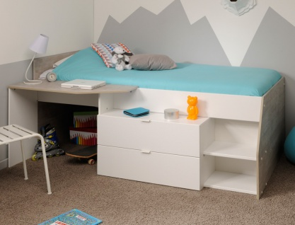 hochbett mika a 90x200 wei grau kinderbett jugendzimmer kinderzimmer kaufen bei vbbv gmbh. Black Bedroom Furniture Sets. Home Design Ideas