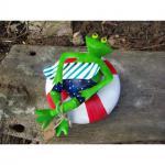 Gartenfigur Teichfigur Surfer Frosch