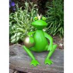Gartenfigur Froschkönig mit Kugel