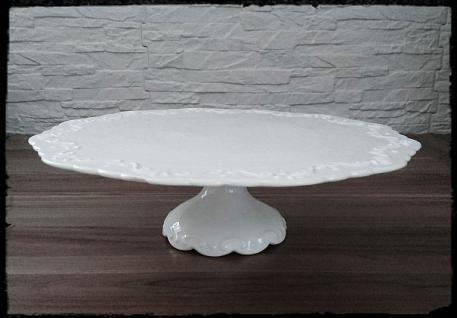Chic Antique Tortenplatte auf Fuß Provence D28 weiß - Vorschau