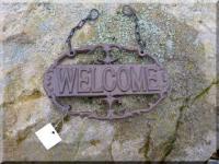 Welcome Schild aus Gusseisen zum Hängen 19 cm