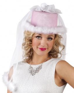 Braut Hut Zylinder Brautschleier rosa-weiß, Junggesellenabschied, Hochzeit