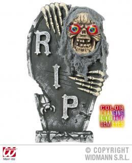 Grabstein RIP Zombie Skelett + LED farbwechsel Augen Horror, Halloween