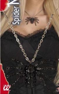 Schwarze Strass Spinnenhalskette Spinnen Kette Hexe Halloween 7145