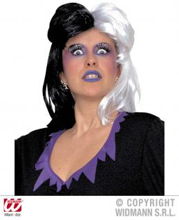 Hexen-Perücke, Halloween Perücke schwarz weiß Damen