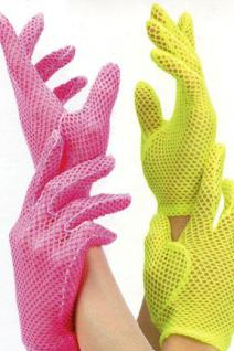 Neon Fingerhandschuhe, Netzhandschuhe, PINK Karneval Mottoparty