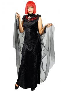 Umhang Vampir Gothic, Spitzen Stehkragen + Kreuz schwarz rot Damen