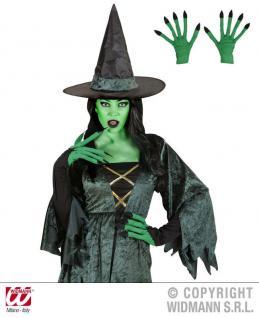 Hexenhandschuhe, Hexe Handschuhe grün Halloween Karneval 9422