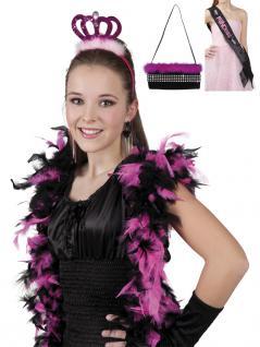 3 tlg.Junggesellenabschied Krone, Schärpe, Handtasche pink-schwarz