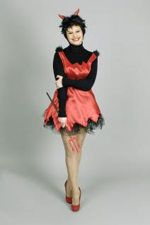 Teufel Schürze Kostüm ROT Damen roter Satinstoff Gr. 36-38