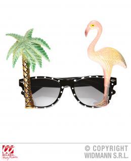 Tropische Brille mit Palme u. Flamingo, Hawaii Mottoparty 322