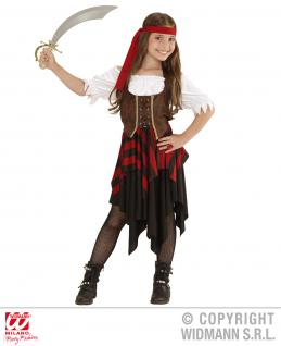 3 tlg Piratenkostüm Pirat Freibeuterin 128--5-7 Jahre