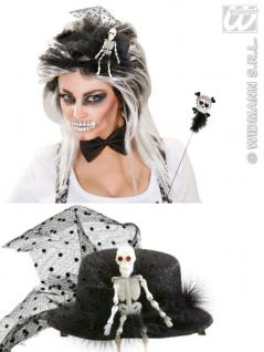 Mini Zylinder SKELETT Hut schwarz Haarclip Halloween Gothic Damen