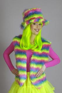 Plüschweste Hippie Neon Regenbogen Kostüm, Raver, Karneval Damen