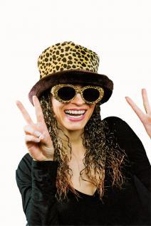 Plüschhut Leopard Mütze mit gelockten Haaren Damen 70er -80er Jahre
