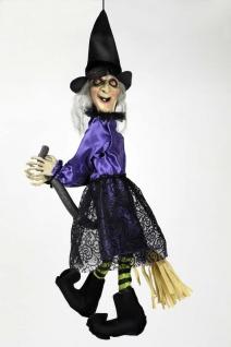 Hexe, Sprache /Leuchtaugen ANIMIERT Zappelbeine Deko Halloween 70x25