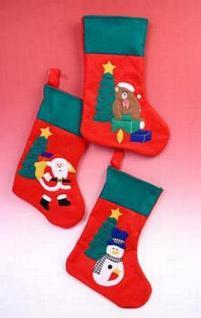 6 x Filzsocke Weihnachtstiefel Geschenkbeutel rot mit Motiv