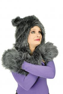 Plüschmütze mit Handwärmer Handschuhe graue Katze Damen