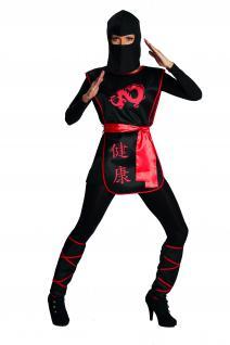 4 tlg. Ninja Kriegerin Kostüm Damen Dragon schwarz rot 36-38 Günstig
