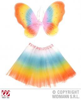 Fee Kostüm, Elfen Mädchen Tütü, Flügel Regenbogen 104-122