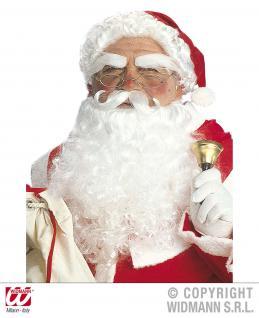 Weihnachtsmann Mütze mit Haaren, Bart, Schnurbart u. Augenbrauen Deluxe