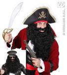 Piraten, Seeräuber, Rocker langer Locken Bart, schwarz, Herren