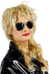 Vokuhila Perücke 70er- 80er Jahre gesträhnt blond Damen