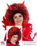 Teufel Perücke rot-schwarz mit Hörner, Mädchen, Jungen Kinder Karneval