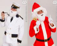 Weihnachtsmann, Kapitän, Zwerg weiß Bart + Oberlippenbart 0782