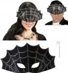 Augenmaske Spinnennetz, Maske silber-schwarz Halloween Gothic Damen Herren