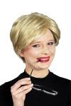 Damen Kurzhaar Perücke blond gesträhnt Bob, wie ECHTHAAR schwer entflammbar