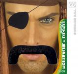 Schnäuzer, Schnauzer+ Augenklappe , Oberlippenbart , schwarz Bart Seeräuber, Pirat