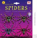 4 Neon SPINNEN, Spider, Tisch Deko, Halloween Horror, Grusel