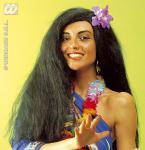 Hawaii,(Hawai) Perücke lang schwarz + Orchidee im Haar 6008