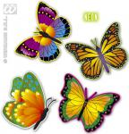 4 Neon Schmetterlinge sortiert ca.32cm, Deko, Hawaii, Sommer