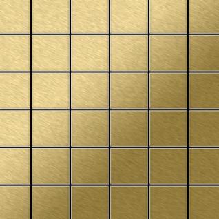 Mosaik Fliese massiv Metall Titan gebürstet in gold 1, 6mm stark ALLOY Cinquanta-Ti-GB 0, 94 m2