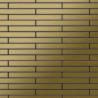Mosaik Fliese massiv Metall Titan gebürstet in gold 1, 6mm stark ALLOY Avenue-Ti-GB 0, 74 m2
