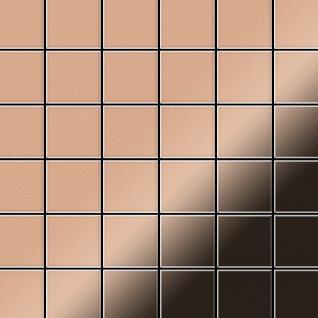 Mosaik Fliese massiv Metall Kupfer gewalzt in kupfer 1, 6mm stark ALLOY Cinquanta-CM 0, 94 m2