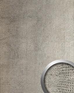 Wandpaneel Leder WallFace 12893 LEGUAN Design Blickfang Deko selbstklebende Tapete Wandverkleidung silber-grau   2, 60 qm
